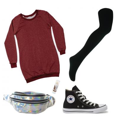 Montagem com vestido moletom, meia calça, pochete e tenis